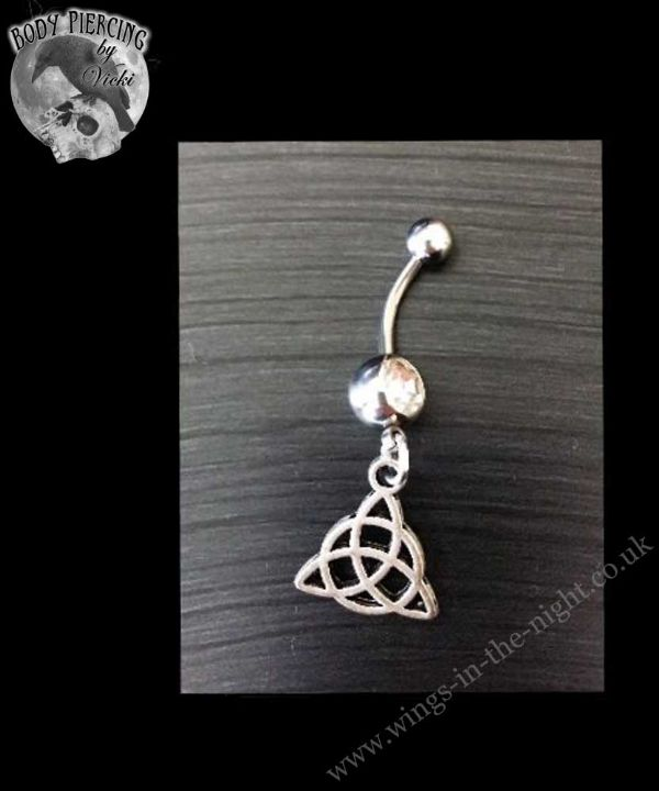 Celtic Triquetra Silver Steel Navel / Belly Bar